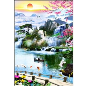 Gạch tranh trang trí ốp tường cao cấp 3D Bình Minh