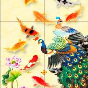 Gạch tranh trang trí ốp tường 3D Công và Cá
