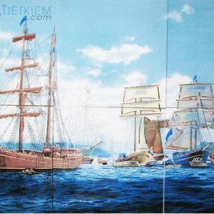 Gạch tranh trang trí ốp tường 3D Thuyền buồm