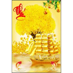 Gạch tranh trang trí ốp tường cao cấp 3D Thuyền buồm vàng