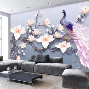 Gạch tranh trang trí ốp tường 3D Chim công 2