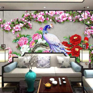Gạch tranh trang trí ốp tường 3D Chim công 1