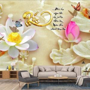 Gạch tranh trang trí ốp tường 3D Bướm hoa 2