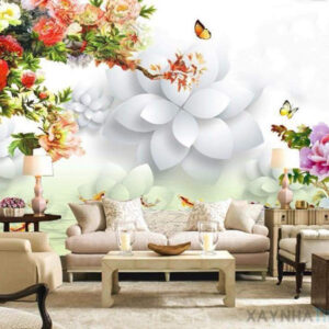 Gạch tranh trang trí ốp tường 3D Bướm hoa 1