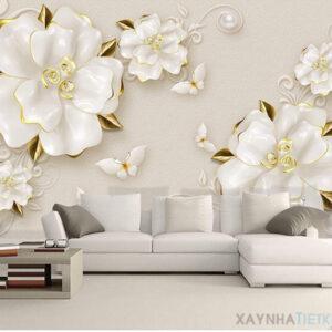Gạch tranh trang trí ốp tường 3D Bướm hoa