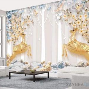 Gạch tranh trang trí ốp tường 3D Nai vàng