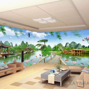 Gạch tranh trang trí ốp tường 3D Sông núi thiên nhiên