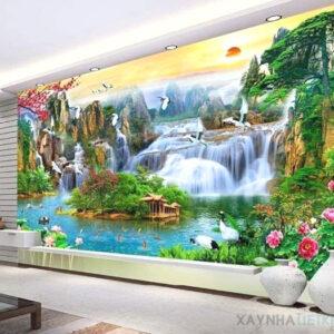 Gạch tranh trang trí ốp tường 3D Hình thác nước