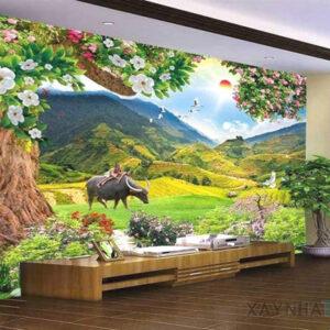 Gạch tranh trang trí ốp tường 3D Chú bé chăn trâu