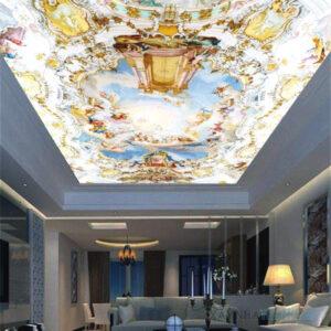 Gạch tranh trang trí ốp trần 3D phòng khách