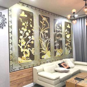 Gạch tranh trang trí ốp tường 3D Hình cây cối