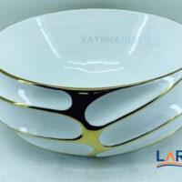 Chậu rửa mặt Lavabo hình tròn mạ vàng LARTO 2
