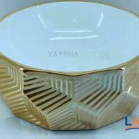 Chậu rửa mặt Lavabo hình tròn mạ vàng LARTO 3