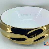 Chậu rửa mặt Lavabo hình tròn mạ vàng LARTO 4